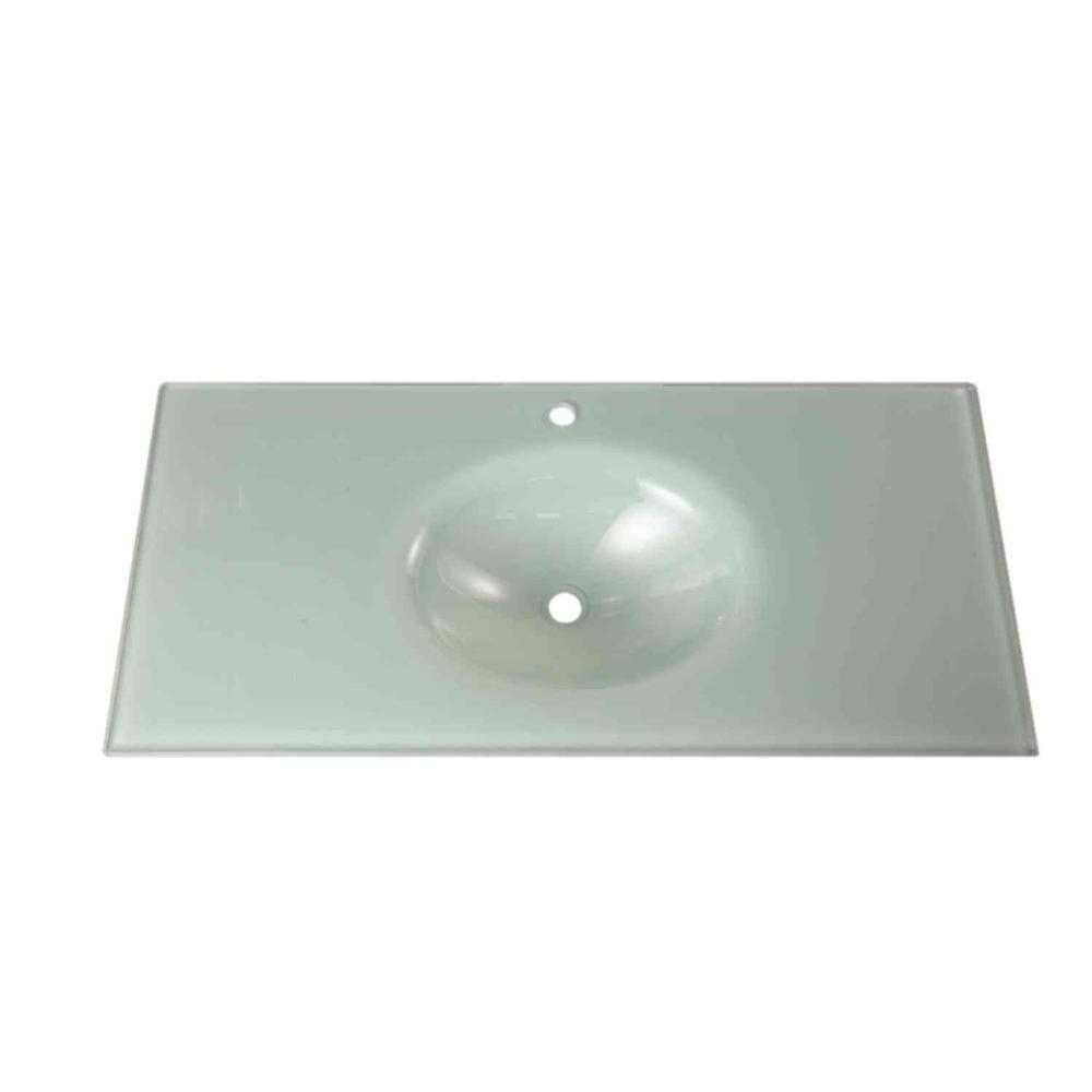 Design Element 36 in. Tempered Glass Vanity Top in Mint without Basin