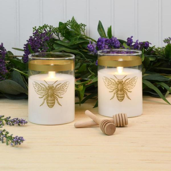 White Honey Bee Battery Operated LED Glass Candles with Moving Flame (Set of 2)