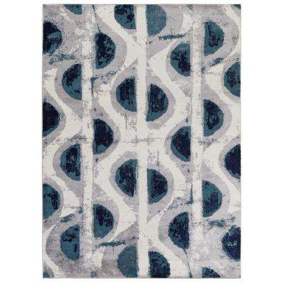 Jasmin Collection Abstract Ivory/Navy 7 ft. 10 in. x 9 ft. 10 in. Area Rug