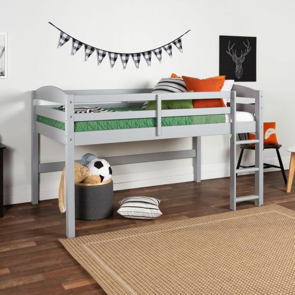 Walker Edison Furniture Company Solid Wood Low Loft Twin Bed - Grey