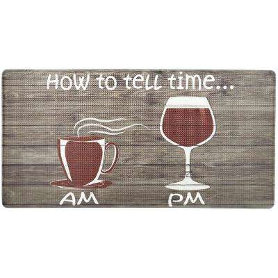 Cook N Comfort Brown How to Tell Time 20 in. x 39 in. Kitchen Mat