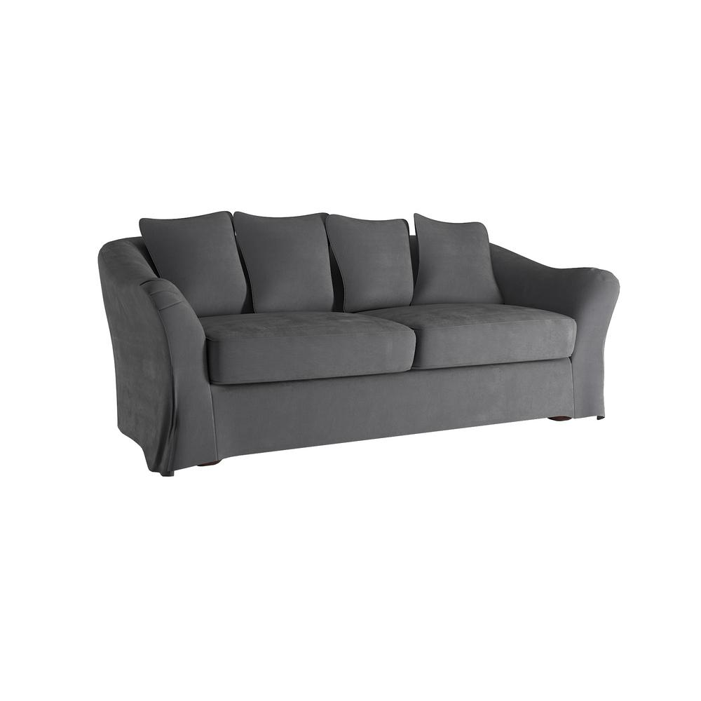 HomeSullivan Sydney 1 Piece Grey Down Filled Slipcovered Sofa