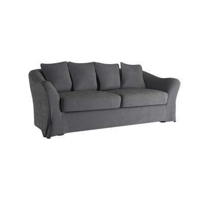Sydney 1-Piece Grey Down-Filled Slipcovered Sofa
