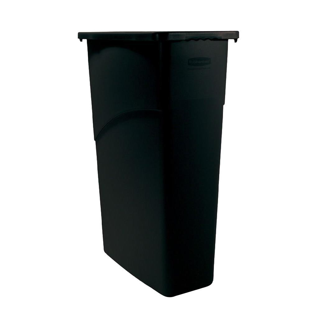 Slim Jim 23 Gal. Black Rectangular Trash Can