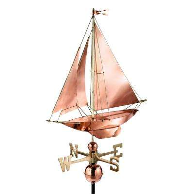 Racing Sloop Weathervane - Pure Copper