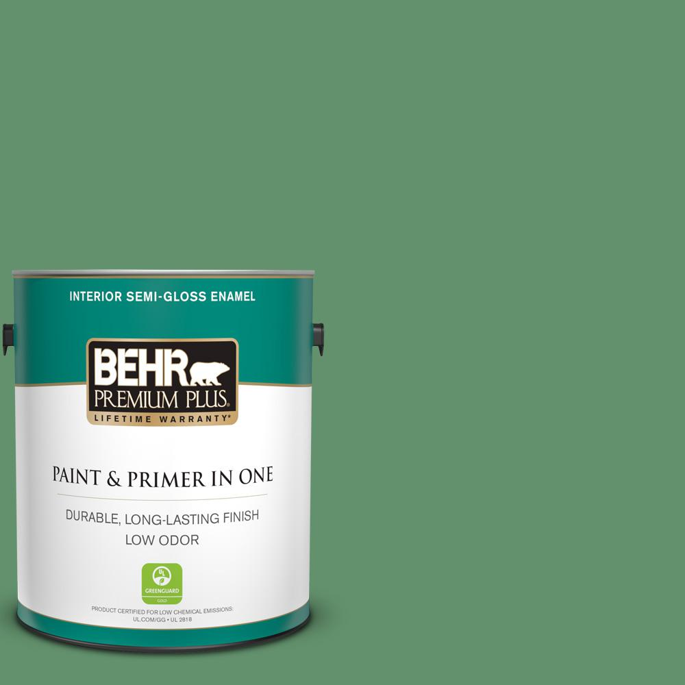 Behr Premium Plus 1 Gal M410 6 Turtle Creek Semi Gloss Enamel Low Odor Interior Paint And Primer In One 330001 The Home Depot