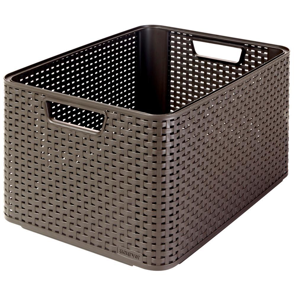 Style 12.8 in x 9.1 in. Espresso Plastic Storage Tote Bin