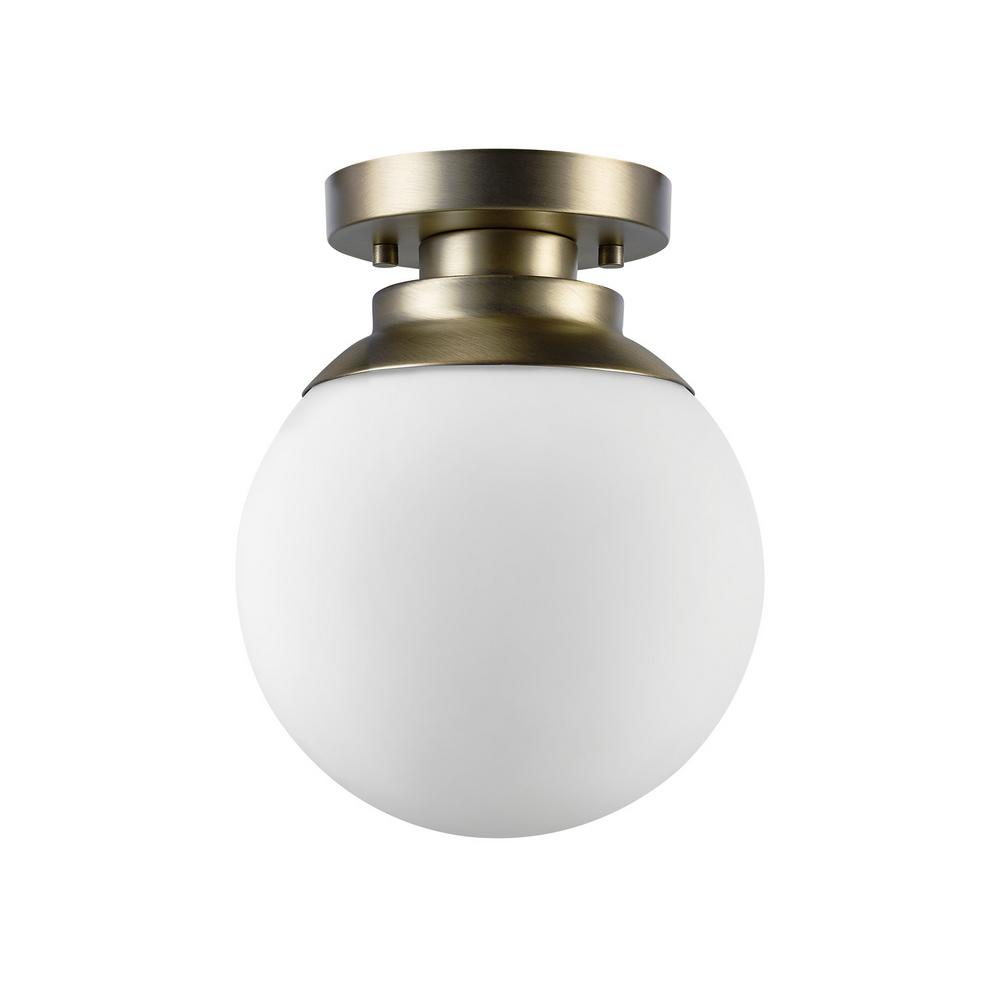 Globe Electric Portland 1-Light Brass Flushmount
