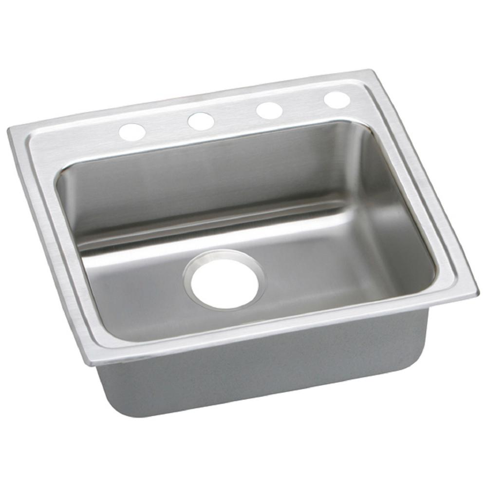 Elkay Lustertone Drop-In Stainless Steel 25 in. 4-Hole Single Bowl ADA Compliant Kitchen Sink with 6.5 in. Bowls