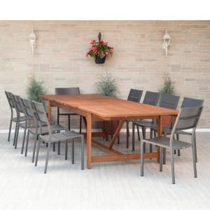 Amazonia Bryant 11 Piece Wood Rectangular Outdoor Dining Set Sc Ley 10caliside The Home Depot