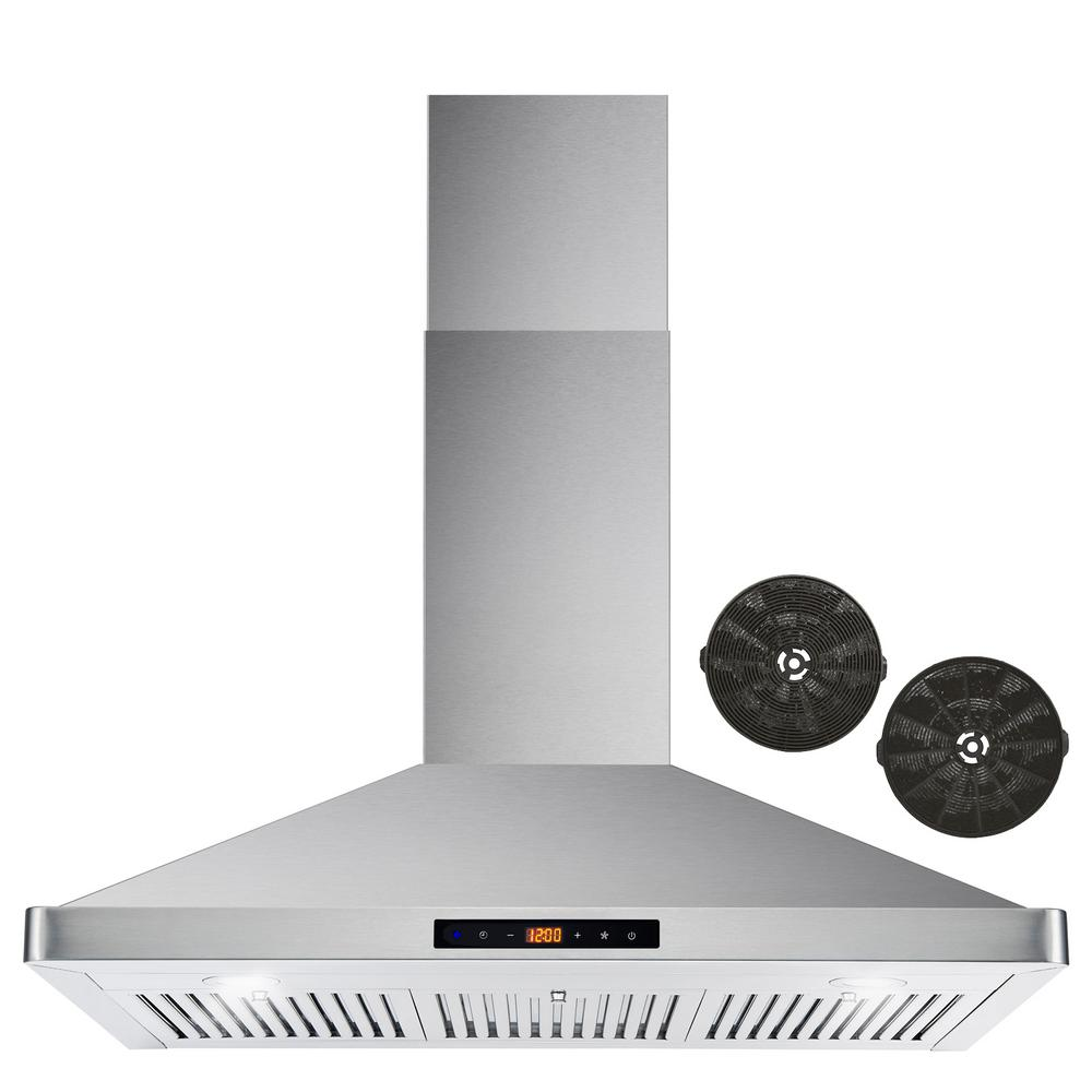 Cosmo 36 in. Ductless Wall Mount Range Hood in Stainless Steel with LED Lighting and Carbon Filter Kit for Recirculating, Silver was $275.0 now $214.99 (22.0% off)
