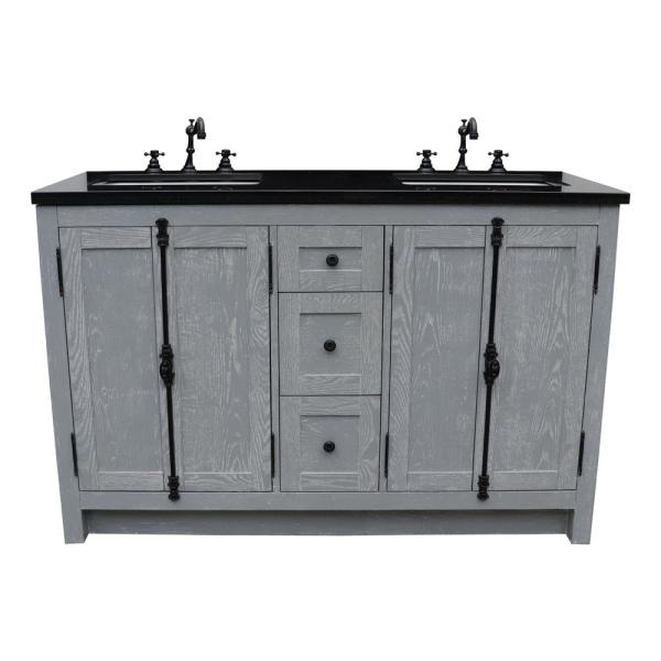 Plantation 55 in. W x 22 in. D Double Bath Vanity in Gray with Granite Vanity Top in Black with White Rectangle Basins