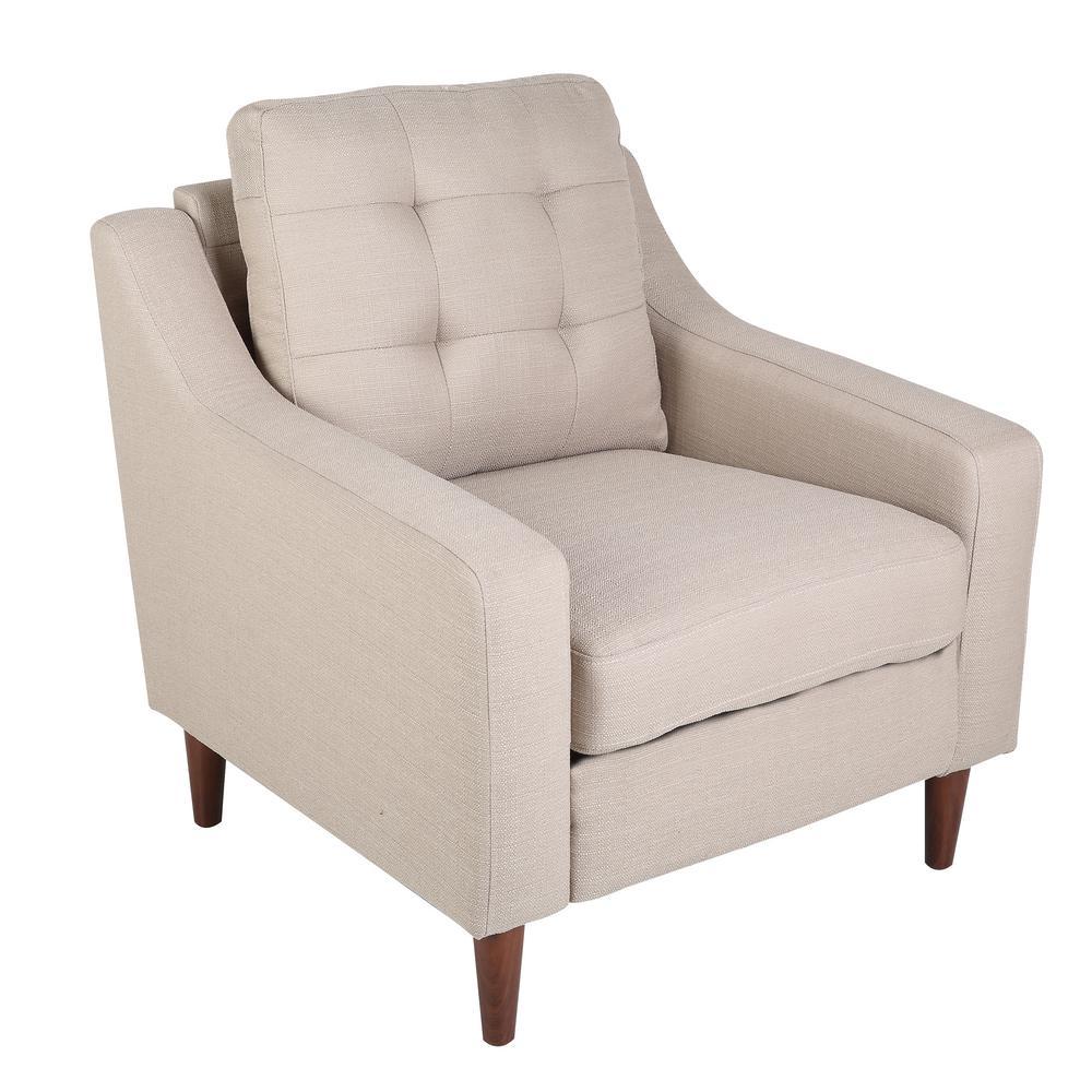 Lumisource Maverick Mid Century Modern Light Brown Upholstered Arm Chair