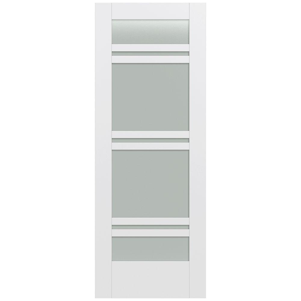 Jeld-Wen 32 in. x 80 in. Moda Primed PMT1071 Solid Core Wood Interior Door Slab w/Translucent Glass