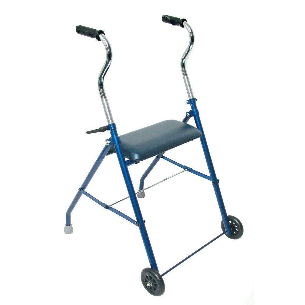 DMI Steel Walker with Wheels and Seat Sturdy, steel walker combines the features of a rollator with the economy of a walker. Cushioned seat for maximum comfort. Height adjustable handles comfortably fit most users.