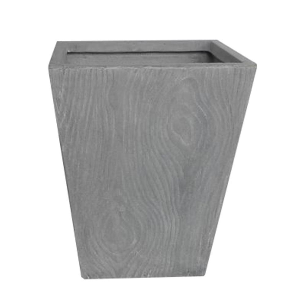 13 in. x 16 in. H Wood Grain Light Grey Tall Square Fiber-Clay Planter