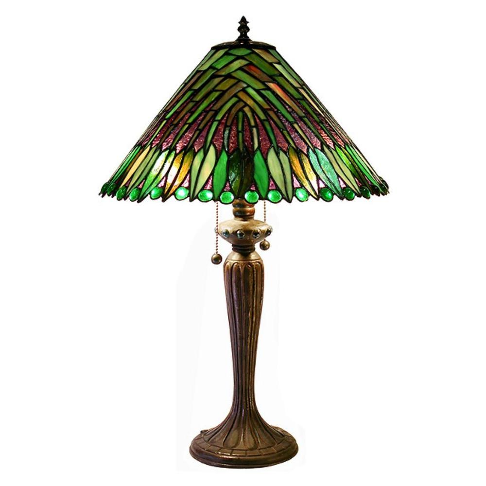 Warehouse Of Tiffany Tropical Leaves 25 In. Bronze Stained Glass Table Lamp