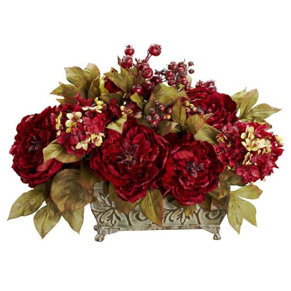 Nearly Natural 18 in. H Red Peony and Hydrangea Silk Flower