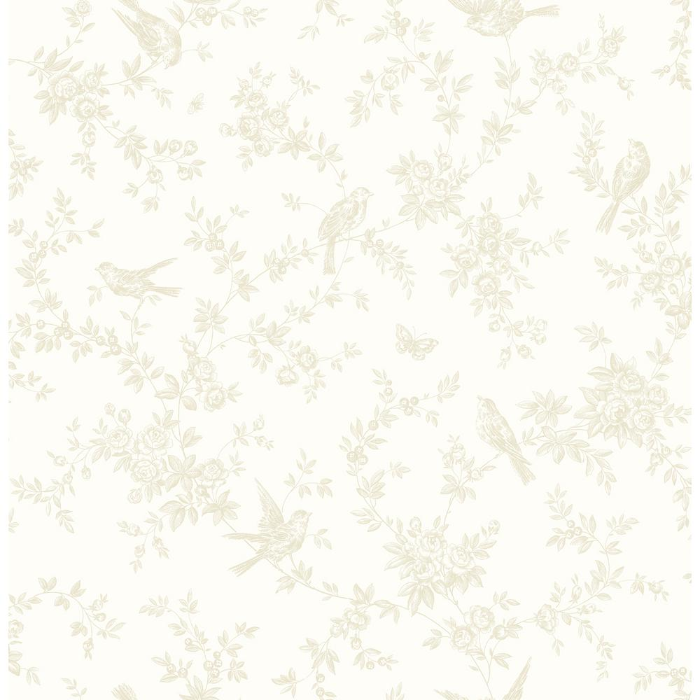 Brewster Mafra Light Yellow Floral Trails Wallpaper Sample 2734