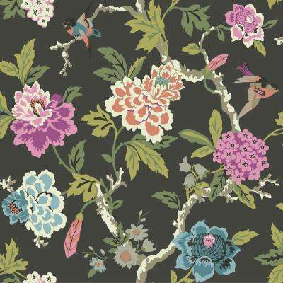 Floral paper black wallpaper decor the home depot waverly candid moment wallpaper mightylinksfo