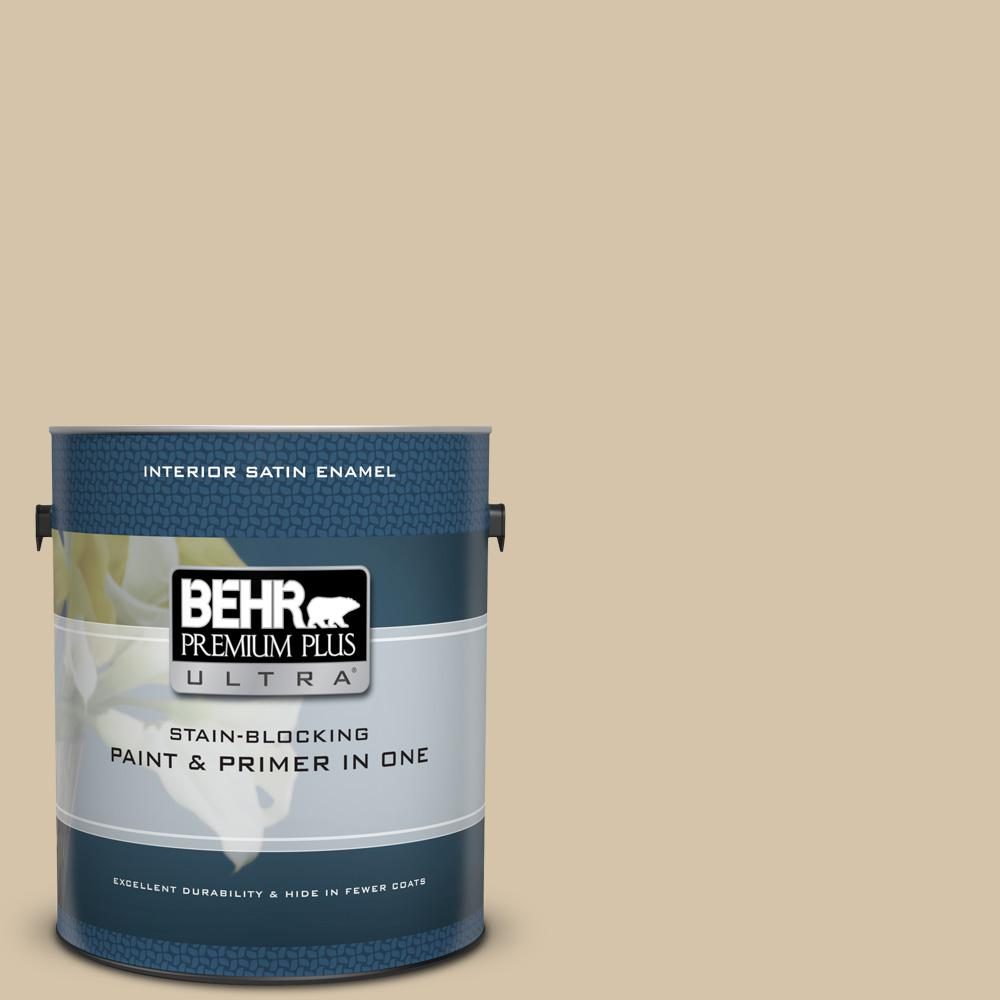 Behr Premium Plus Ultra 1 Gal Icc 60 Brown Bread Satin Enamel Interior