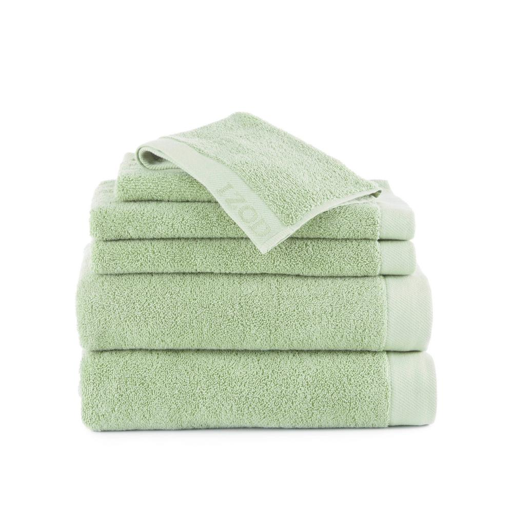 Classic 6-Piece Cotton Bath Towel Set in Soft Green