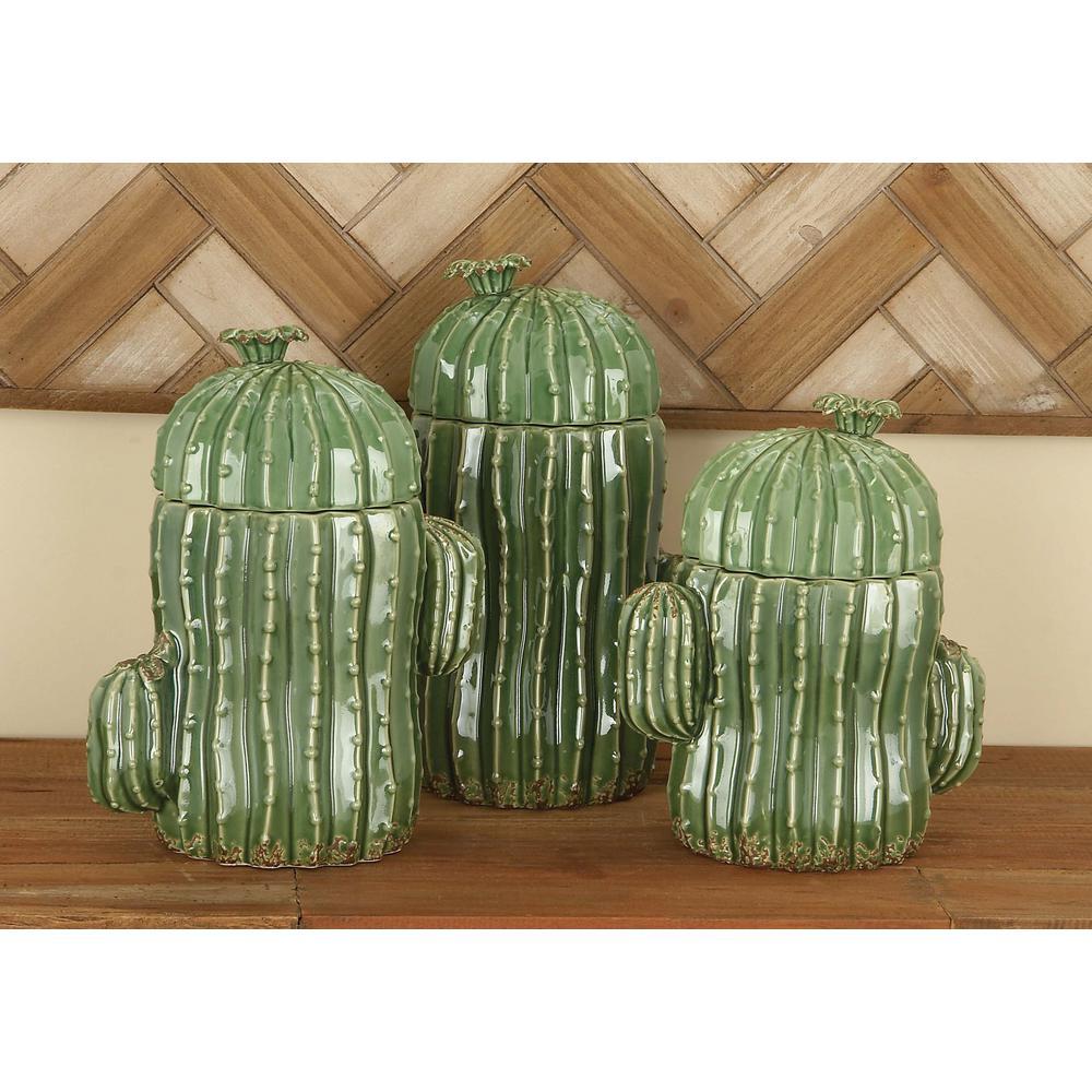 Set of 3 Ceramic Cactus-Shaped Jars in Glazed Green
