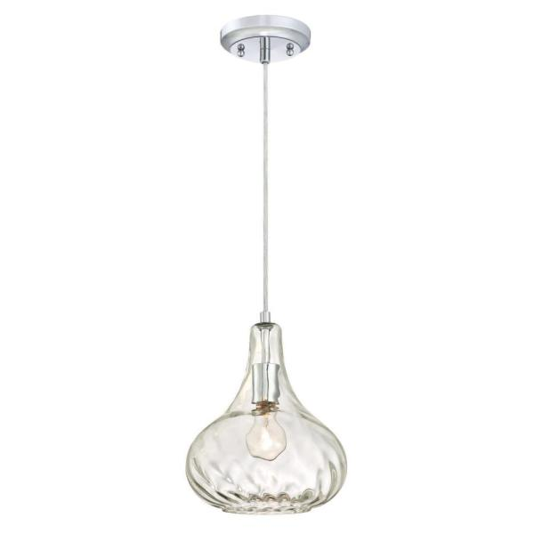 1-Light Chrome Pendant with Clear hammered Glass Shade