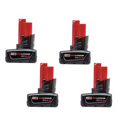 M12 12-Volt Lithium-Ion XC Extended Capacity Battery Pack 6.0Ah (4-Pack)