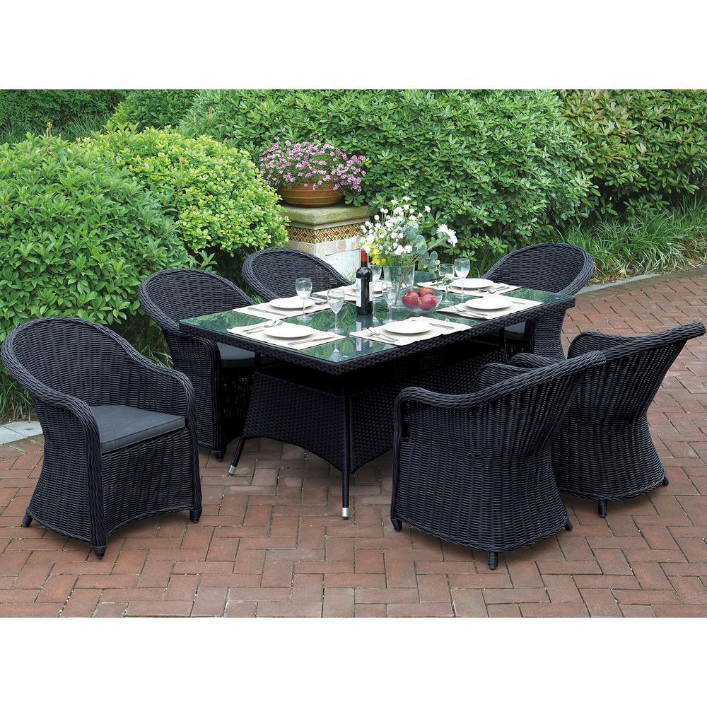 Nembro 7-Piece All-Weather Wicker Rectangular Outdoor Dining Set with Dark Brown Cushion