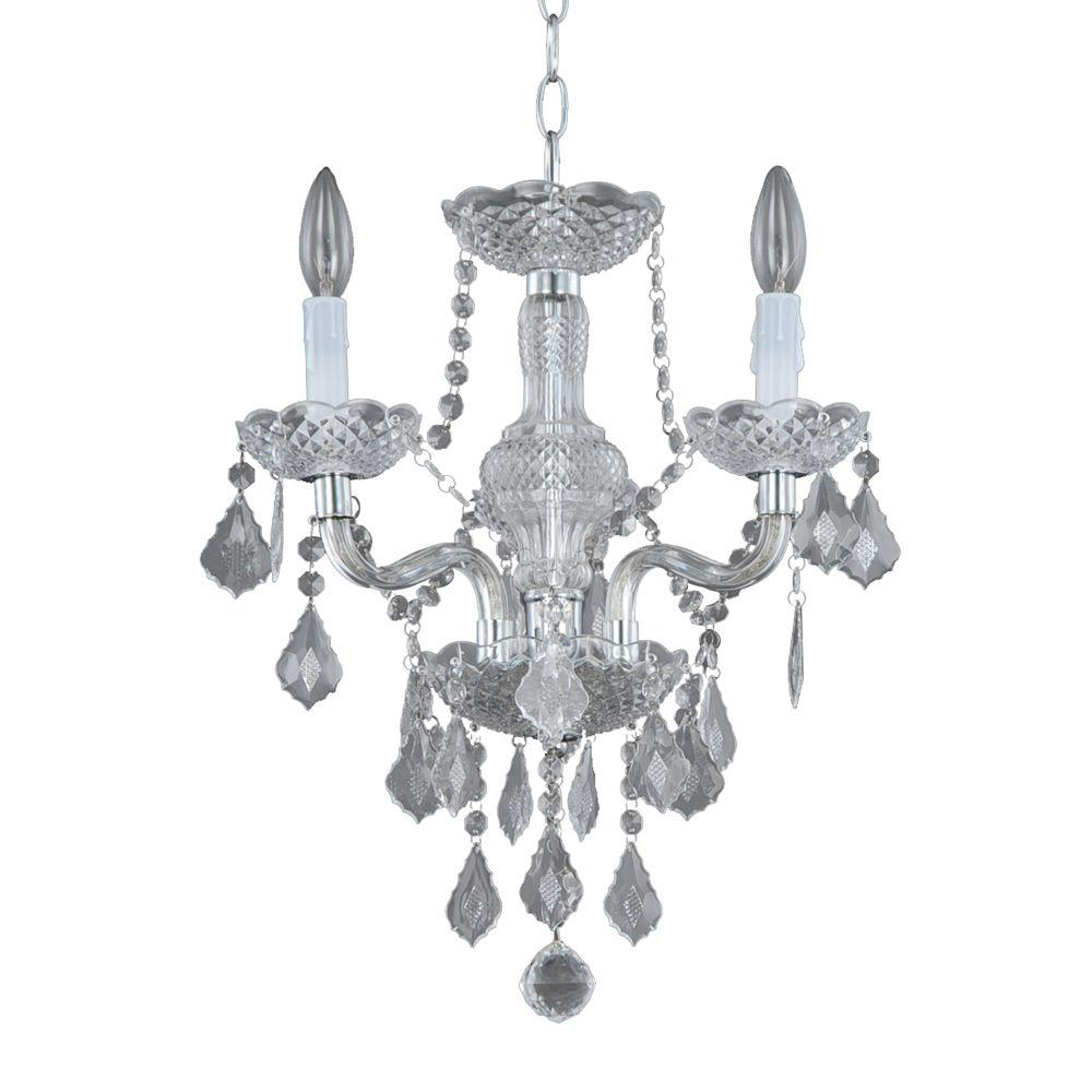 Mini chandeliers lighting the home depot maria theresa 3 light chrome and clear acrylic mini chandelier arubaitofo Image collections