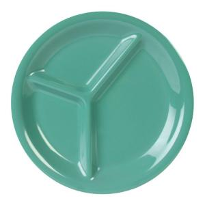 Coleur 10-1/4 in. 3-Compartment Plate in Green (12-Piece)