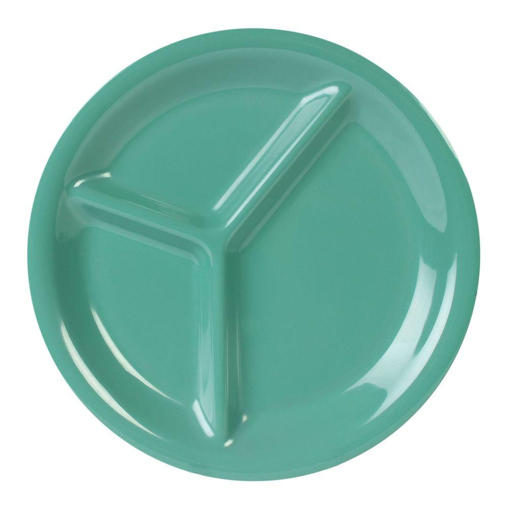 Restaurant Essentials Coleur 10-1/4 in. 3-Compartment Plate in Green (12-Piece)