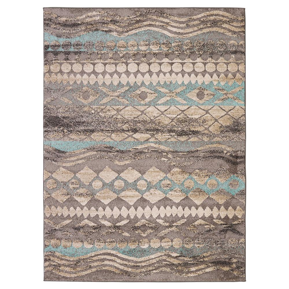 Urban collection contemporary sculpted effect tribal print blue grey 5 ft x 7 ft indoor area rug urb4136 5x7 the home depot