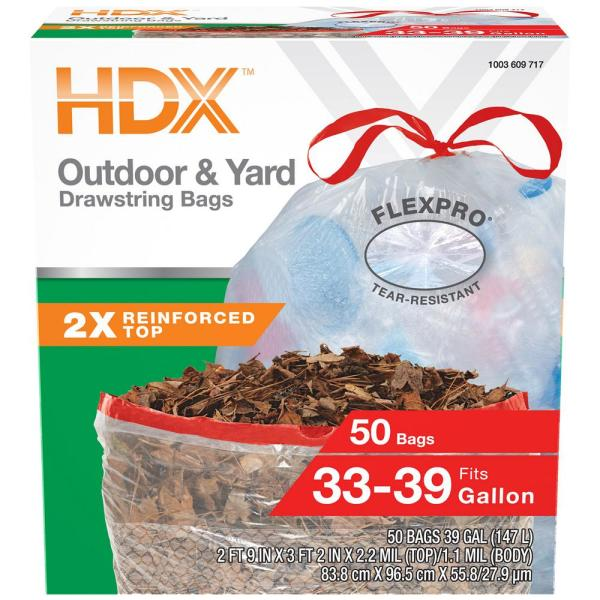 FlexPro 33 Gallon - 39 Gallon Clear Drawstring Outdoor and Yard Trash Bags (50-Count)