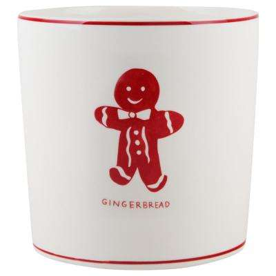 7 in. D White Gingerbread Round Utensil Crock