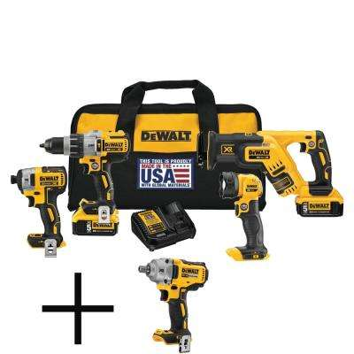 20-Volt MAX XR Lithium-Ion Cordless Combo Kit (4-Tool) with Batteries, Charger, Tool Bag and Free 1/2 in. Impact Wrench