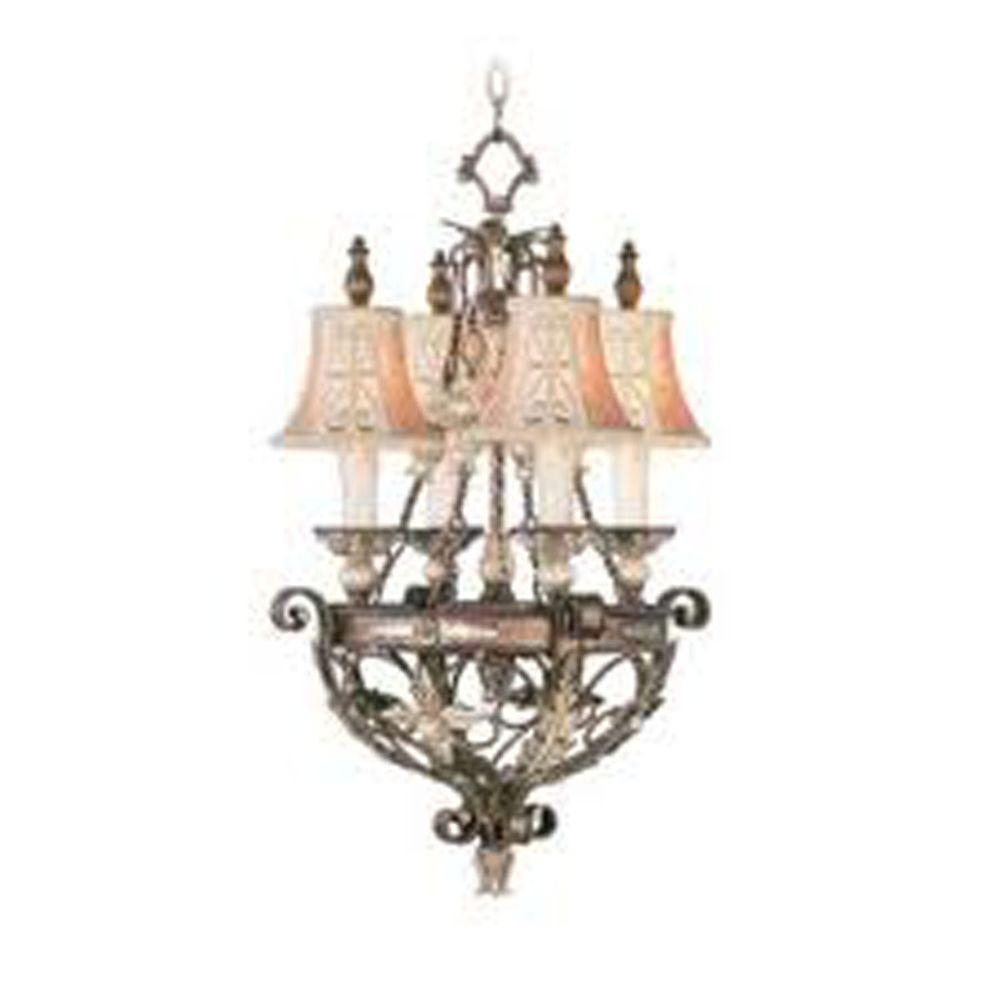 Providence 4-Light Palatial Bronze Incandescent Ceiling Chandelier with Gilded