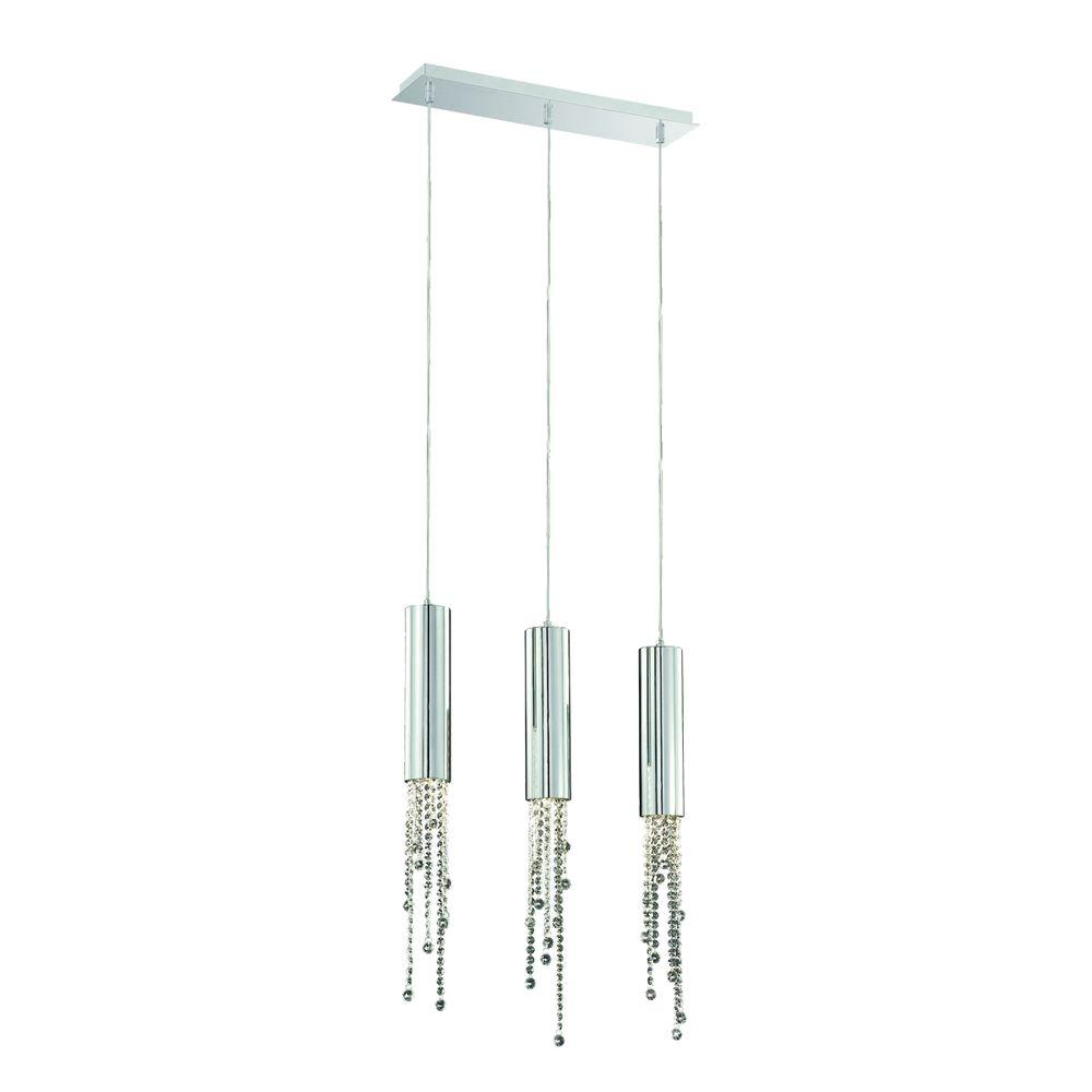 Groove Collection 3-Light Chrome Pendant