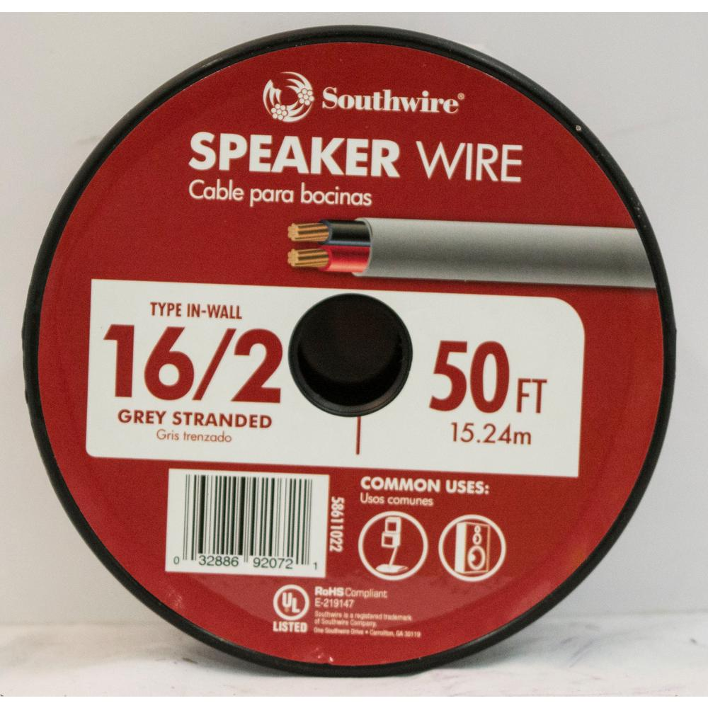 50 ft. 16/2 Grey Stranded CU In-Wall CL3 Speaker Wire