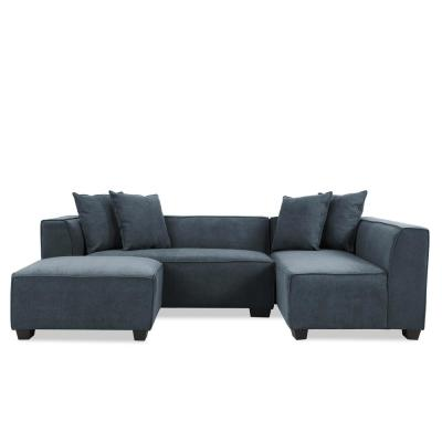 Exceptional Phoenix Sectional Sofa With Ottoman In Caribbean Blue Plush Low Pile Velvet
