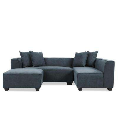 Phoenix Sectional Sofa with Ottoman in Caribbean Blue Plush Low-Pile Velvet