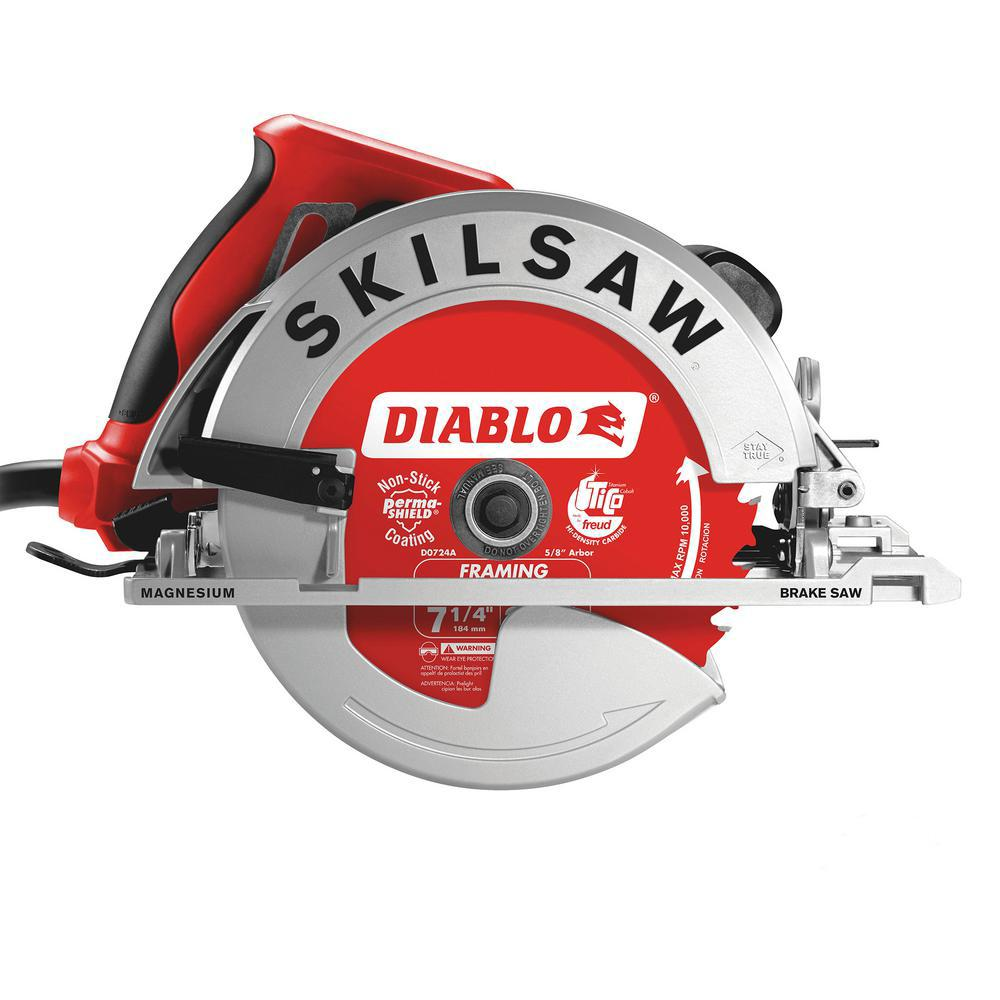 SKILSAW 7-1/4 in. 15 Amp Corded Electric Magnesium Side Winder Circular Saw with Brake with 24-Tooth Diablo Carbide Blade