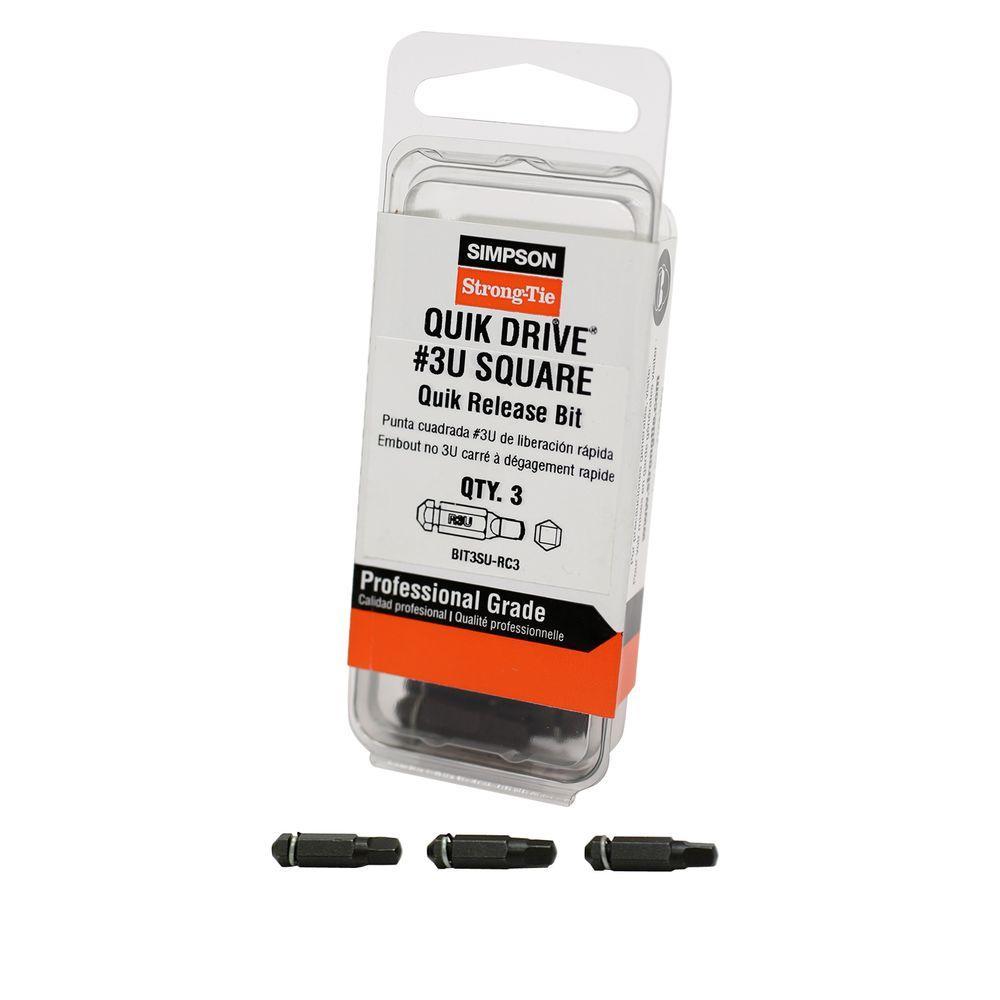 Quik Drive Bit Pack #3 Undersized Square-Drive Bits (3 per Pack)