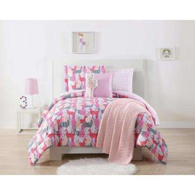 Llama Llama Printed Pink and Grey Full / Queen Comforter Set
