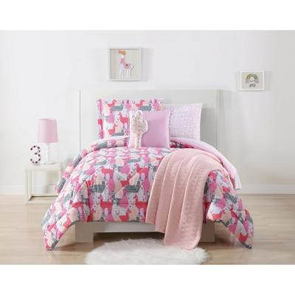 Llama 3-Piece Pink and Grey Queen Comforter Set
