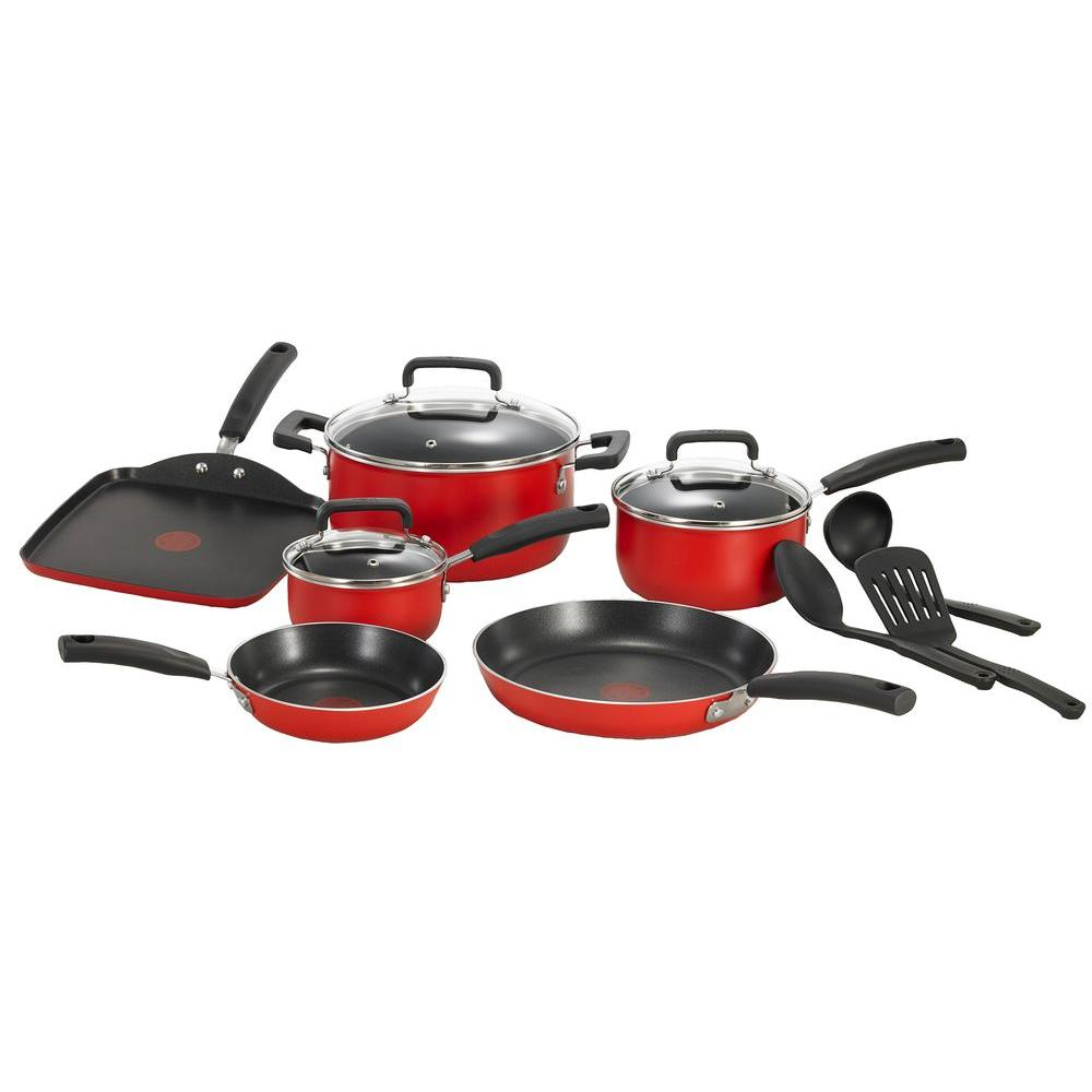 T fal signature total non stick 12 piece cookware set for Kitchen set red