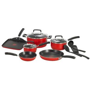 Click here to buy T-Fal Signature Total Non-Stick 12-Piece Cookware Set Aluminum in Red by T-Fal.