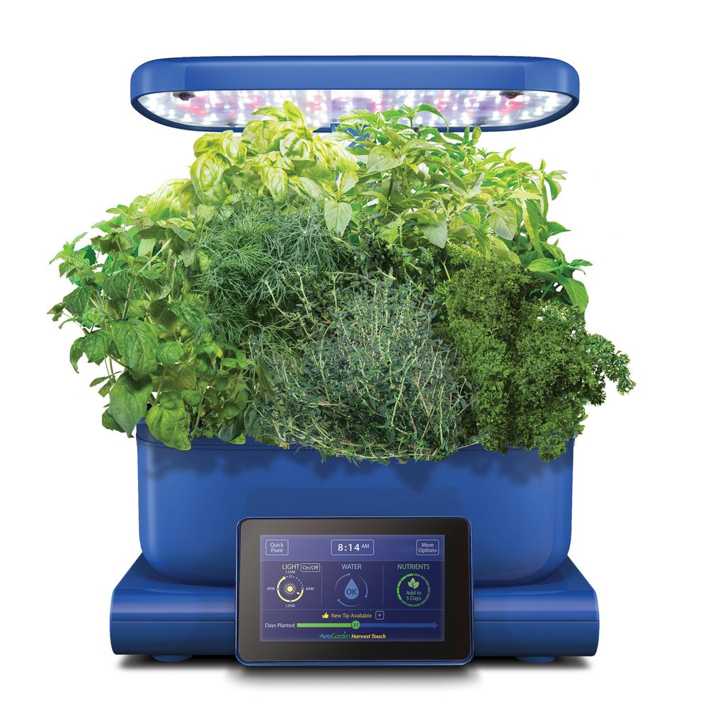 AeroGarden Harvest Touch Indoor Hydroponic Garden Kit in Blue