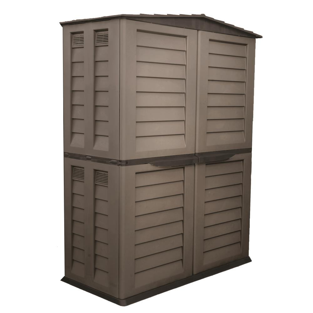 59.5 in. x 32.7 in. x 78 in. Mocha/Brown Tall Storage Shed